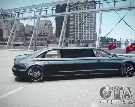 Audi A8 Limo para GTA 4 vista hacia atrás