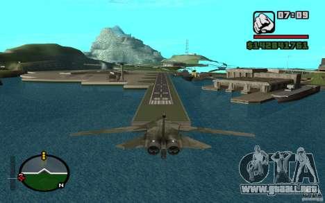 F-111 Aardvark para GTA San Andreas vista posterior izquierda