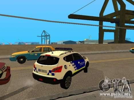 Nissan Qashqai Espaqna Police para la visión correcta GTA San Andreas
