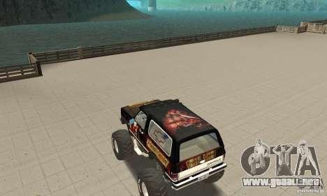 Chevrolet Blazer K5 Monster Skin 4 para GTA San Andreas vista posterior izquierda