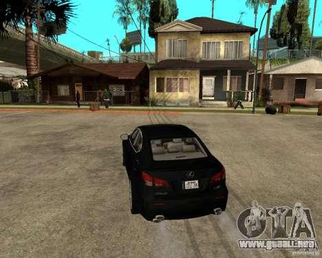 Lexus IS-F v2.0 para GTA San Andreas vista posterior izquierda