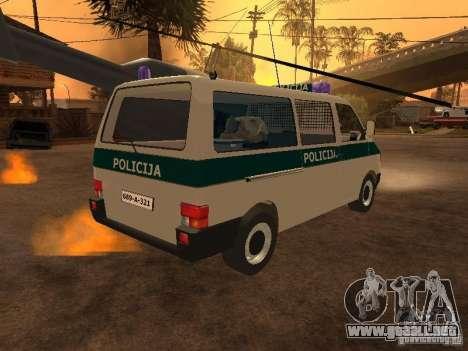 Volkswagen Transporter T4 Bosnian police para GTA San Andreas vista posterior izquierda