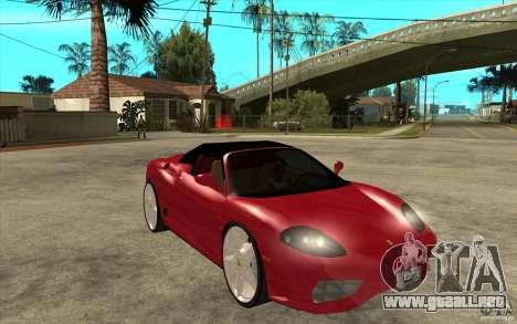 Ferrari 360 Spider para GTA San Andreas vista hacia atrás