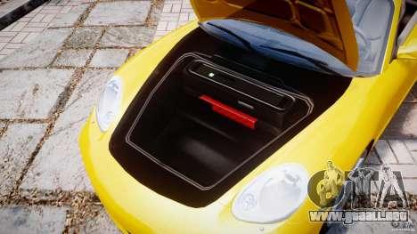 Porsche Boxster S para GTA 4 vista hacia atrás