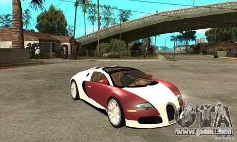 Bugatti Veyron Grand Sport para GTA San Andreas vista hacia atrás