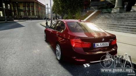 BMW 335i 2013 v1.0 para GTA 4 Vista posterior izquierda