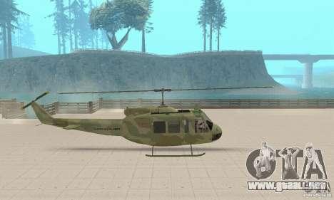 UH-1 Iroquois (Huey) para GTA San Andreas vista posterior izquierda