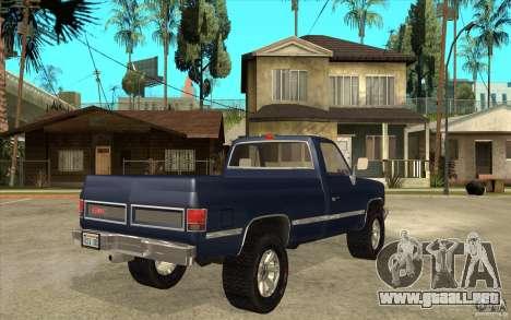 GMC Sierra 1986 para la visión correcta GTA San Andreas