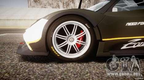 Pagani Zonda R 2009 para GTA 4 vista desde abajo