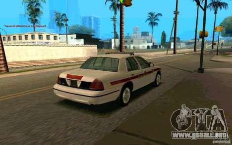 Ford Crown Victoria South Dakota Police para GTA San Andreas vista posterior izquierda