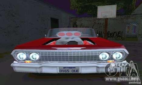 Chevrolet Impala 1963 Lowrider Charged para GTA San Andreas vista hacia atrás