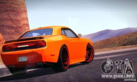 Dodge Quinton Rampage Jackson Challenger SRT8 v1 para GTA San Andreas vista posterior izquierda