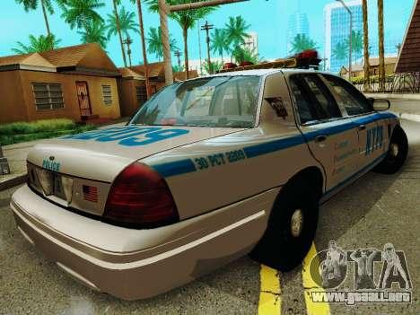 Ford Crown Victoria 2003 NYPD White para la visión correcta GTA San Andreas