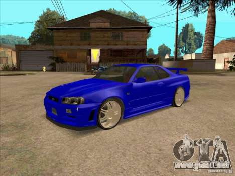 Nissan Skyline GT-R R34 from FnF 4 v.2.0 para GTA San Andreas left