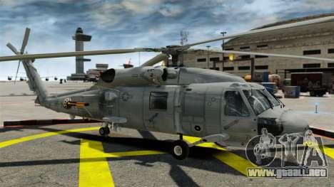 El helicóptero del Sikorsky SH-60 Seahawk para GTA 4 vista hacia atrás