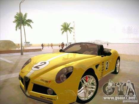 Alfa Romeo 8C Spider para la vista superior GTA San Andreas