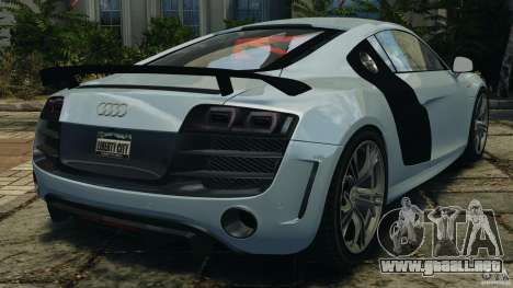 Audi R8 GT 2012 para GTA 4 Vista posterior izquierda