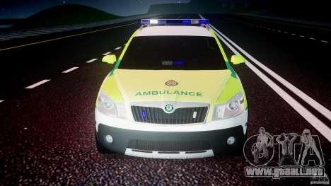 Skoda Octavia Scout Paramedic [ELS] para GTA 4 vista desde abajo