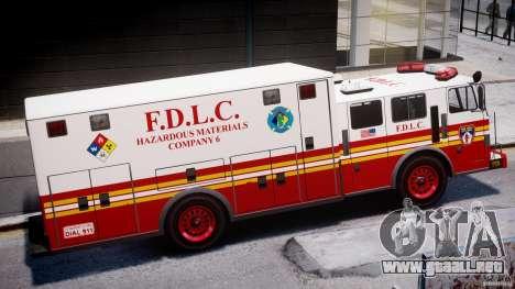 LCFD Hazmat Truck v1.3 para GTA 4 Vista posterior izquierda