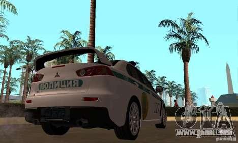 Mitsubishi Lancer Evolution X policía de Kazajis para GTA San Andreas vista hacia atrás