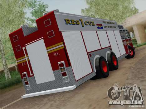 E-One F.D.N.Y Fire Rescue 1 para la visión correcta GTA San Andreas