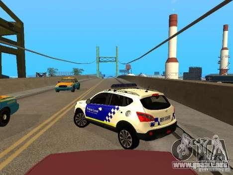 Nissan Qashqai Espaqna Police para GTA San Andreas vista posterior izquierda