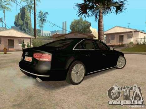 Audi A8 2010 para GTA San Andreas vista hacia atrás