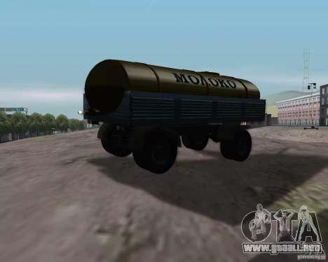 Trailer de Kamaz 53212 petrolero de la leche para GTA San Andreas left