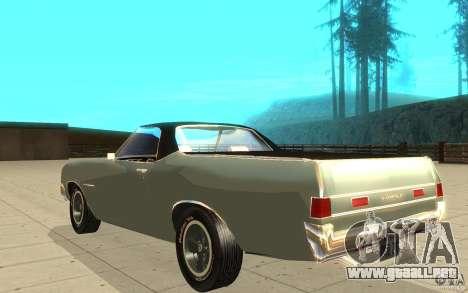 Chevrolet El Camino 1972 para GTA San Andreas vista posterior izquierda