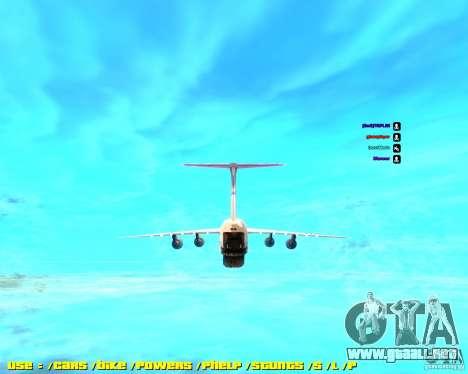 Lockheed C5-M Super Galaxy para GTA San Andreas vista posterior izquierda