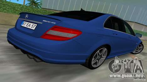 Mercedes-Benz C63 AMG 2010 para GTA Vice City vista interior