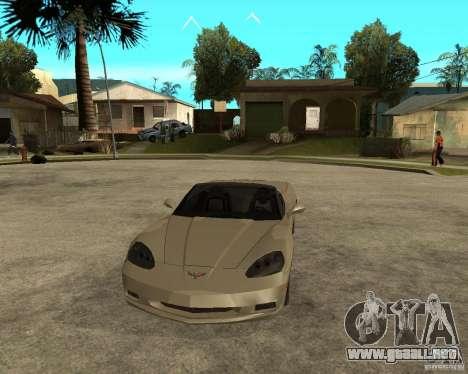2005 Chevy Corvette C6 para GTA San Andreas vista hacia atrás