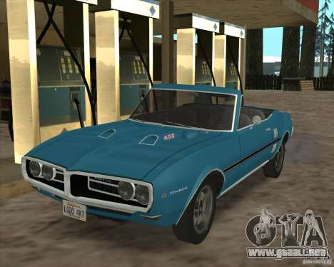 Pontiac Firebird Conversible 1966 para GTA San Andreas vista hacia atrás
