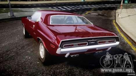 Dodge Challenger 1971 para GTA 4 Vista posterior izquierda