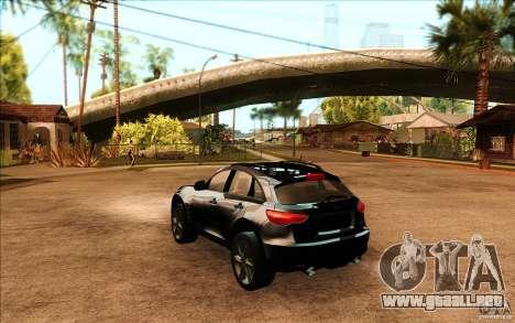 Infiniti FX50 Beta para GTA San Andreas vista posterior izquierda