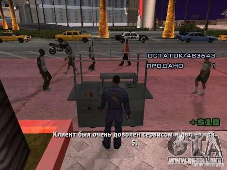 Vendedor de perritos calientes para GTA San Andreas sucesivamente de pantalla