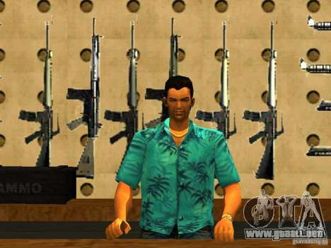 Tommy Vercetti en AMMU-NATION para GTA San Andreas segunda pantalla