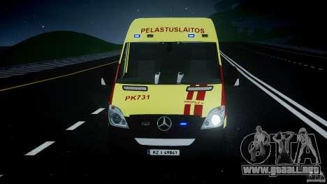 Mercedes-Benz Sprinter PK731 Ambulance [ELS] para GTA 4 vista desde abajo