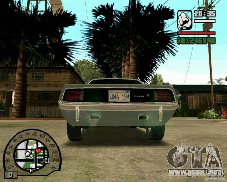 Plymouth Hemi Cuda 440 para GTA San Andreas vista posterior izquierda