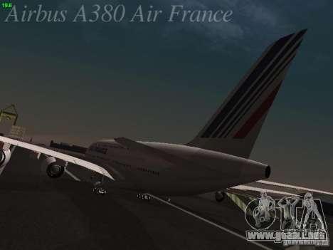 Airbus A380-800 Air France para GTA San Andreas vista posterior izquierda