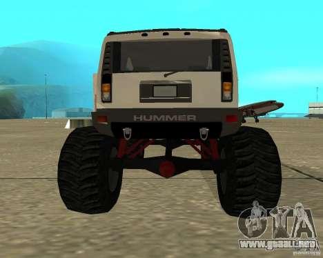 Hummer H2 MONSTER para GTA San Andreas vista posterior izquierda