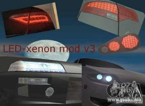 LED-xenon mod v3.0 para GTA San Andreas