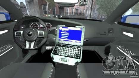 Dodge Charger Unmarked Police 2012 [ELS] para GTA 4 vista hacia atrás