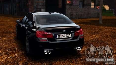 BMW M5 F10 2012 para GTA 4 Vista posterior izquierda