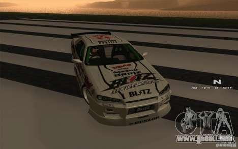 Nissan Skyline ER34 D1GP Blitz para GTA San Andreas left