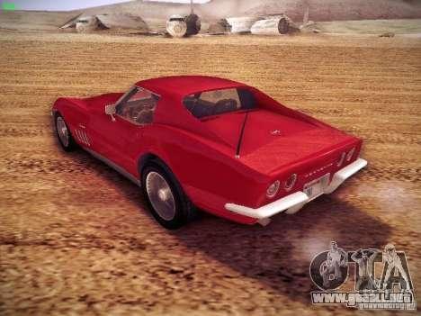Chevrolet Corvette Stingray 1968 para GTA San Andreas vista posterior izquierda