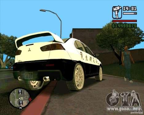 Mitsubishi Lancer EVO X Japan Police para GTA San Andreas vista hacia atrás