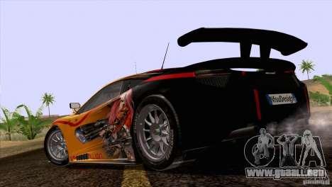 Pintura trabajos McLaren MP4-12 c Speedhunters para GTA San Andreas vista hacia atrás