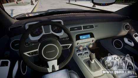 Chevrolet Camaro SS 2009 v2.0 para GTA 4 vista hacia atrás