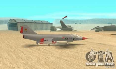 F-104 Starfighter Super (gris) para GTA San Andreas vista posterior izquierda